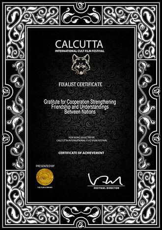 Calcutta International Cult Film Festival - 2017 Finalist Certificate - I Do Documentary
